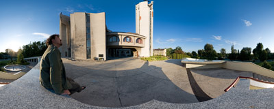 Roman Catholic church of Divine Mercy in Wzgórza Krzesławickie, part of Kraków.  Click to view this panorama in new fullscreen window
