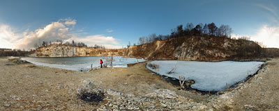 Old water-filled quarry in Zabierzów, still frozen over after the winter.  Click to view this panorama in new fullscreen window