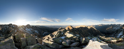 On the summit of Zadni Granat (2240 m) in the Polish Tatra Mountains.  Click to view this panorama in new fullscreen window