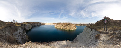 Old quarry in Zakrzówek, now filled with azure water.  Click to view this panorama in new fullscreen window