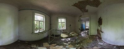Inside the obstetrician's office in the abandoned Zalessye village (original population 2000) near the Chernobyl nuclear power plant, Ukraine.  Click to view this panorama in new fullscreen window
