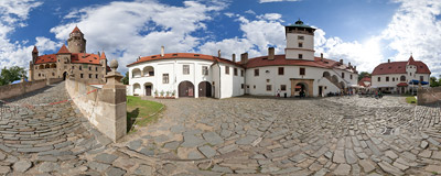 The first courtyard of the 14th-century castle in Bouzov, Czech Republic.  Click to view this panorama in new fullscreen window