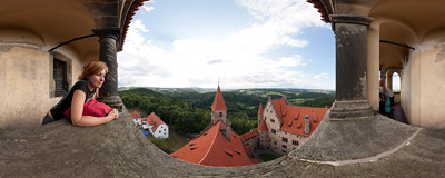 The view from the tower of the 14th-century Bouzov Castle, Czech Republic.  Click to view this panorama in new fullscreen window