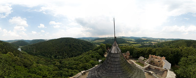 Grodno Castle in Zagórze Śląskie - view from the tower with Bystrzyckie Lake in the valley below.  Click to view this panorama in new fullscreen window