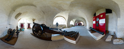 Spišský hrad (The Spiš Castle) - exhibition of old armours, cannons etc.  Click to view this panorama in new fullscreen window