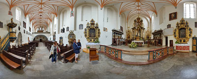 The Benedictine abbey church in Żarnowiec.  Click to view this panorama in new fullscreen window