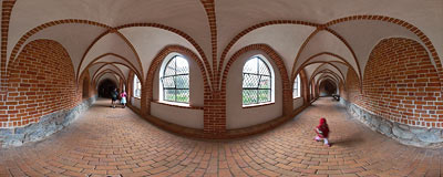Cloisters of the Benedictine abbey in Żarnowiec.  Click to view this panorama in new fullscreen window