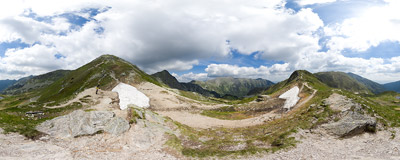 Žiarske sedlo (1917 m) in Slovak Tatra Mountains.  Click to view this panorama in new fullscreen window