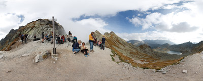The famous pass of Zawrat (2159 m) in Polish Tatra Mountains.  Click to view this panorama in new fullscreen window
