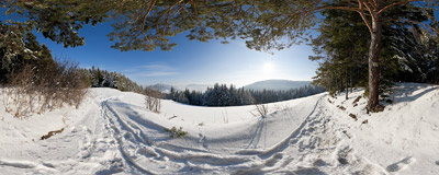 On the yellow-marked trail from Lubień to Zembalowa in the Beskid Wyspowy mountain range.  Click to view this panorama in new fullscreen window