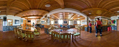 Inside the Žiarska chata mountain hut in Slovak Tatra Mountains.  Click to view this panorama in new fullscreen window