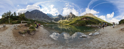 Zelené pleso ('Green Lake', 1545 m) in Slovak Tatra Mountains.  Click to view this panorama in new fullscreen window