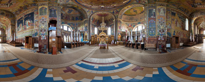 Inside the Greek Catholic Basilian church of the Sacred Heart of Jesus in Zhovkva, Lviv region, Ukraine.  Click to view this panorama in new fullscreen window