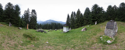 The symbolic cemetery of mountain victims at Zverovka in Slovak Tatra mountains.  Click to view this panorama in new fullscreen window