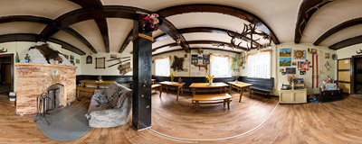 Main room of the Zygmuntówka mountain hut.  Click to view this panorama in new fullscreen window