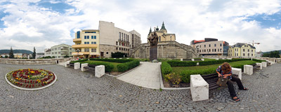 The 2004 monument of Saints Cyril and Methodius above the Hlinkove námestie Square in Žilina, Northern Slovakia.  Click to view this panorama in new fullscreen window