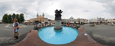 By the fountain on Mariánske námestie, the main square of Žilina in Northern Slovakia.  Click to view this panorama in new fullscreen window