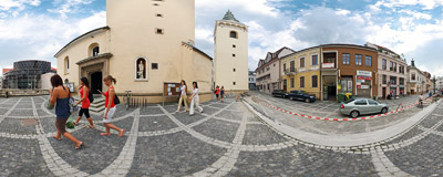 The Roman Catholic Holy Trinity Cathedral, one of the dominant buildings in Žilina, Northern Slovakia.  Click to view this panorama in new fullscreen window