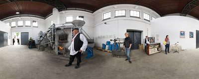 Żywiec Brewery: the malt used for producing the porter beer is still hand roasted in this 1910 oven.  Click to view this panorama in new fullscreen window