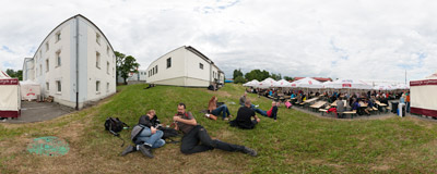 Relaxing on the grass during the Birofilia Festival at the Żywiec Brewery.  Click to view this panorama in new fullscreen window